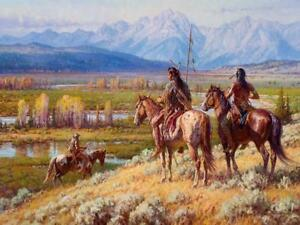 Martin Grelle Scouts on the Buffalo Fork Grande Edition Giclee on Canvas 30 x 40