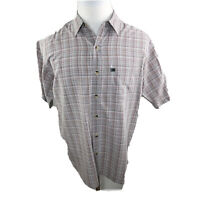 The North Face Button Up Short Sleeve Shirt Blue/Red Plaid Men's Size M