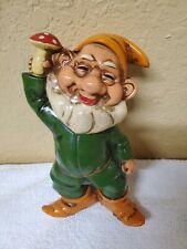 "Vtg RARE Disney Seven Dwarfs JAPAN Ceramic Figurine - 7"" SLEEPY Holding Mushroom"