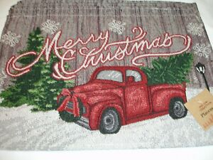 New! S/4 Tapestry Holiday Merry Christmas Truck Placemats Kitchen Placemat Set