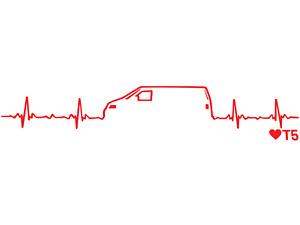 Sticker Volkswagen Heartbeat Decal Red VW 11x3 Watercooled Dub T5 Bus Camper