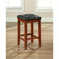 "Crosley 24"" Faux Leather Tufted Counter Stool in Mahogany (Set of 2)"