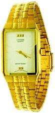 New Old Stock Rare Rectangular Citizen Gold Tone Band S.Steel WR Watch R86293-WL