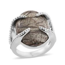 Utah rhyolite jasper (10.500Cts) Ring in platinum Plated size O or N