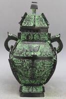 "10"" China Bronze Ware Ancient Beast Incense Burner Statue"