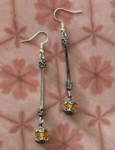"Brighton GLASS MOUNTAIN Crystal Yellow Sparkle Beads Custom Silver Earrings 3"""