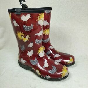 SLOGGERS Women's Waterproof Garden Rain Boot Red Chicken US 6 NEW