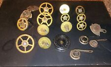 Lot of brass clock time springs, gears, time bridge, more