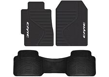 Honda Civic Logo PVC Vinyl Black Front & Rear Floor Mats New Free Shipping USA