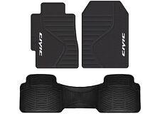 Honda Civic Logo PVC Vinyl Black Front & Rear Floor Mats New Free Shipping USA