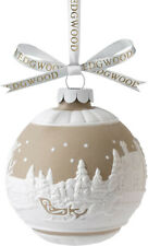 Wedgwood Sleigh Ride Ball Ornament Porcelain Taupe Tan & White Relief New In Box