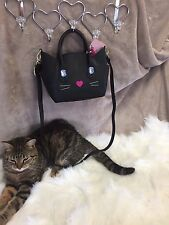 New!  Betsey Johnson Black Cat Small Satchel Handbag Purse Shoulder Strap BLING