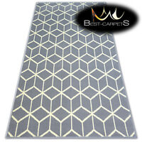 """MODERN DESIGNS & CHEAP BCF RUGS grey CUBE SQUARES """"BASE"""" LARGE SIZE Best-Carpets"""