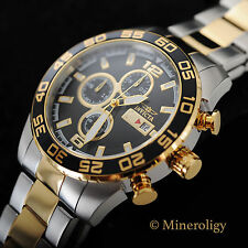 NEW Invicta Specialty 18k Gold Plated Two Tone Chronograph Black Dial Mens Watch