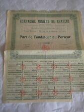 Vintage share certificate Stocks Bonds Compagnie Miniere de charens 1927
