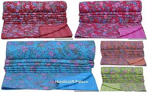 Bohemian Throw Kantha Quilt Bedding Coverlet Bedspread Indian Floral Quilt Ralli