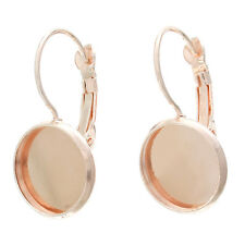 10 rose gold plate cabochon bezel tray lever back earring blanks 12mm fin0471a