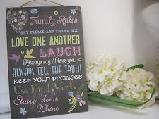 Handmade Wall Plaque Sign. Family rules Vintage Shabby Chic Chalkboard Effect