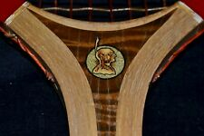 NOS Antique Vintage 1920 Wood Native American Decal COLLEGIATE Tennis Racket