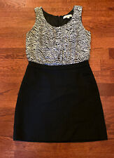 Ann Taylor LOFT Women's Size 4 Stretch Knit Black Print Career Dress