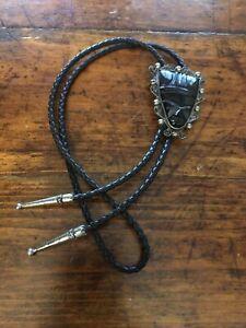 Vintage Black Onyx Carved Face Sterling Bolo Tie