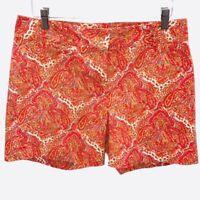 Talbots Womens Chino Shorts Orange Paisley Flat Front Mid Rise Stretch Pockets 6