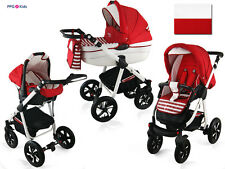 Baby Pram Pushchair Buggy Stroller + Car Seat, Modern Travel System 4 in 1