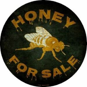 """HONEY FOR SALE 12"""" ROUND LIGHTWEIGHT METAL WALL SIGN DECOR"""
