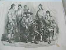 Gravure 1858 - Les Ambassadeurs Siamois à Paris