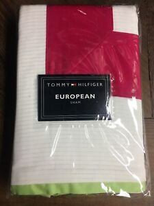 NEW Tommy Hilfiger Euro European Pillow Sham White / Pink Euro - SOMMERVILLE