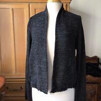 Eileen Fisher Tweed Open Front Jacket Black Size Medium