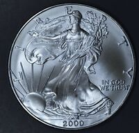 2000 1 oz AMERICAN SILVER EAGLE BRILLIANT UNCIRCULATED ASE  SKU2000B