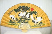 "ORIENTAL wall decor fan 35"" long by 58"" when open made w/cranes real bamboo new"