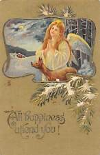 """Embossed: """"All Happiness attend you!"""" Woman Angel, Moonlight, Stars, deer, doe"""