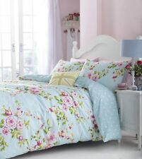 PINK BLUE ROSE FLORAL PRINTED COTTON BLEND SUPER KING SIZE REVERSIBLE DUVETCOVER