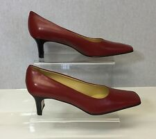 Sanfrediano Italian Design Ladies  Red Leather Mid Heel Court Shoes Size 6/39