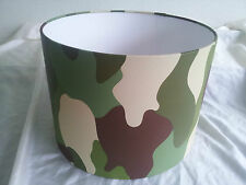 "12""Camouflage army wallpaper LAMPSHADE HANDMADE IN UK .Rasch,greeen brown."