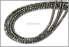 """15.7"""" Natural Hematite Round Faceted Beads 3mm #85235"""