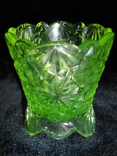 Green Vaseline glass daisy & button pattern toothpick holder uranium canary neon