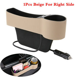 Car Accessories Seat Crevice Storage Box Cup Holder Organizer Dual USB For Right