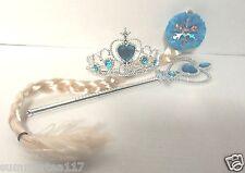 FROZEN ELSA Princess Accessories SET Wig/Ponytail, Tiara/ Crown, Wand Girl Anna
