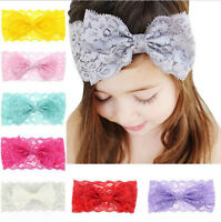 7 Color Baby Girls Kids Lace Bow Headband Hairband Stretch Head Band Accessories