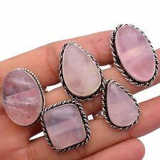 Rose Quartz Gemstone 5pcs Ring Wholesale Lot 925 Sterling Silver Overlay WHR-10