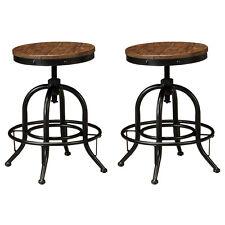 Ashley Signature Designed Metal Frame Stools 2pc Brown Dining Room Furniture