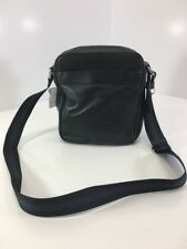 COACH MEN'S F54782 LEATHER CROSSBODY FLIGHT/MESSENGER BAG BLACK NWT