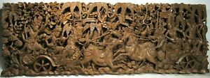 INDONESIAN WOOD CARVING GOD/DRAGON/HORSE ASIAN 3D SCULPTURE WALL HANGING MANTLE