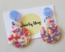 Statement triple dangle confetti purple,yellow and pink clear acrylic  earrings