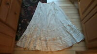 "Antique PETTICOAT SKIRT Lace & Embroidered Hem, Ribbon, 30"" Waist,Cream"