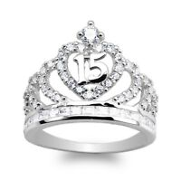 JamesJenny White Gold Plated  15 Anos Quinceanera Crown   Ring Size 5-10