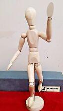 "Vintage Male Manikin Wooden Sketching Figure 13"" Jointed MacMillan Japan"